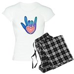 Blue/Pink Glass ILY Hand Women's Light Pajamas