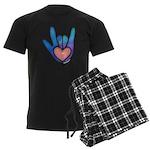 Blue/Pink Glass ILY Hand Men's Dark Pajamas