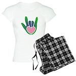 Green/Pink Heart ILY Hand Women's Light Pajamas