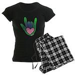 Green/Pink Heart ILY Hand Women's Dark Pajamas