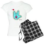 Aqua Bold I-Love-You Women's Light Pajamas