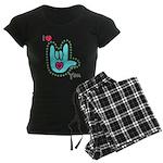 Aqua Bold I-Love-You Women's Dark Pajamas