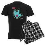 Aqua Bold I-Love-You Men's Dark Pajamas
