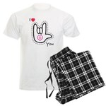 B/W Bold I-Love-You Men's Light Pajamas