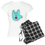 Aqua Bold Love Hand Women's Light Pajamas