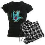 Aqua Bold Love Hand Women's Dark Pajamas