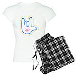 Blue Bold Love Hand Women's Light Pajamas