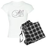 White ASL Kitty Women's Light Pajamas