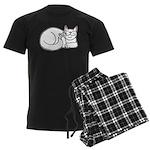 White ASL Kitty Men's Dark Pajamas