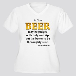 Czech Beer Proverb Women's Plus Size V-Neck T-Shir