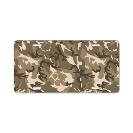 Tan Camouflage Pattern Aluminum License Plate