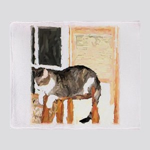 Watercolor Photograph of Cat Throw Blanket