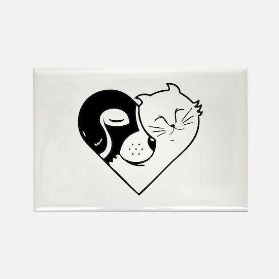 CatDog Heart Rectangle Magnet