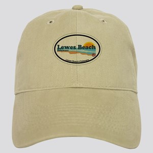 Lewes Beach DE - Oval Design Cap