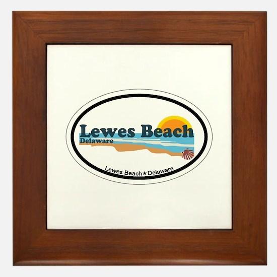 Lewes Beach DE - Oval Design Framed Tile