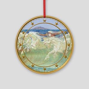 NEPTUNE'S HORSES CLOCK Ornament (Round)