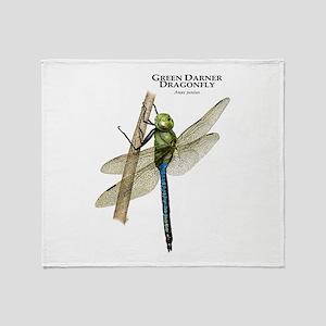 Green Darner Dragonfly Throw Blanket