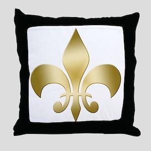 Gold Fleur Throw Pillow