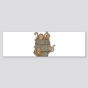 Cute Barrel of Monkeys Sticker (Bumper)