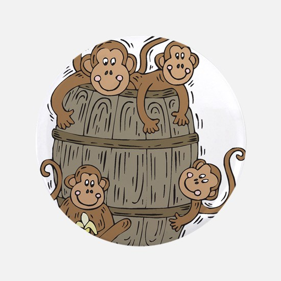"Cute Barrel of Monkeys 3.5"" Button (100 pack)"