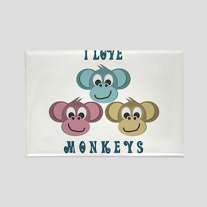 I love Monkeys Retro Style Rectangle Magnet