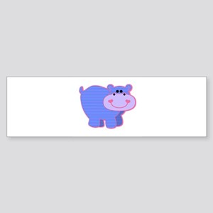 Blue Striped Hippo Sticker (Bumper)