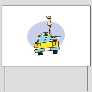 Cartoon Taxi Cab Luggage Tag903285889 Yard Signs - CafePress