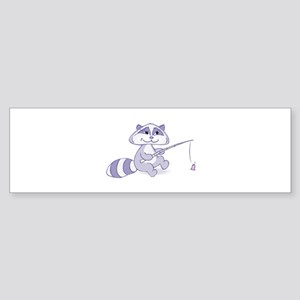 Cute Racoon Fishing Sticker (Bumper)