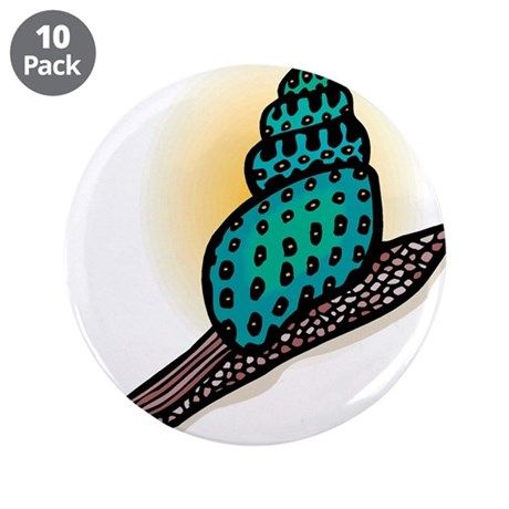 """Pretty Turquoise Snail 3.5"""" Button (10 pack)"""