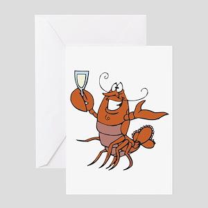 Toasting Wine Lobster Greeting Card