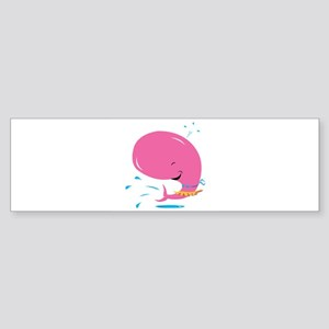 Funny Pink Whale in Bikini Sticker (Bumper)