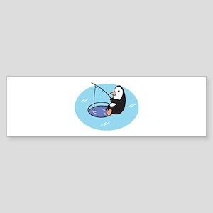 Cute Ice Fishing Penguin Sticker (Bumper)