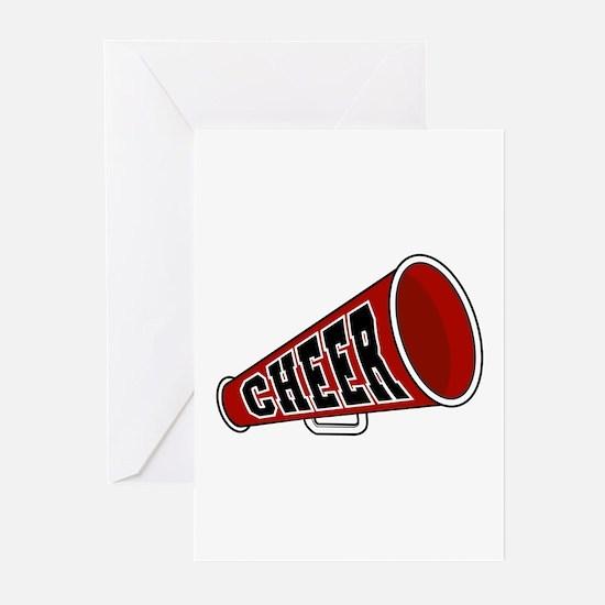 Red Cheer Megaphone Greeting Cards (Pk of 20)