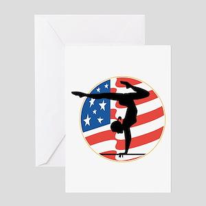 USA Stars and Stripes Gymnast Greeting Card