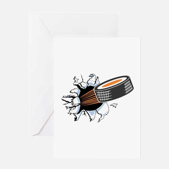 Hockey Puck Rip Through Greeting Card