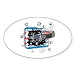 Hockey Puck Break Through Sticker (Oval 10 pk)