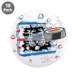 "Hockey Puck Break Through 3.5"" Button (10 pac"