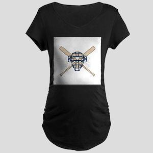 Catcher's Mask and Bats Maternity Dark T-Shirt