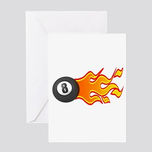 Eight Ball on Fire Greeting Card
