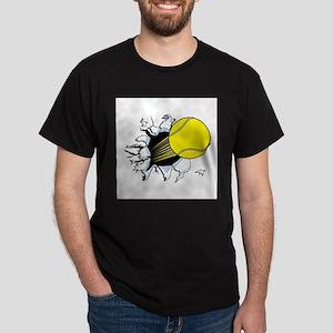 Tennis Ball Ripping Through Dark T-Shirt