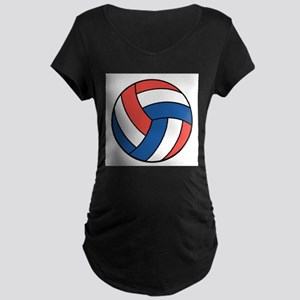 Red, White and Blue Volleybal Maternity Dark T-Shi
