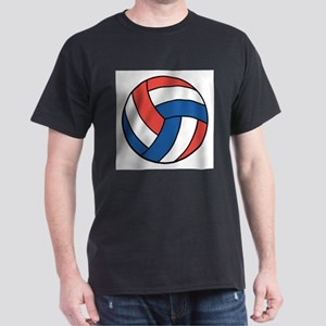 Red, White and Blue Volleybal Dark T-Shirt