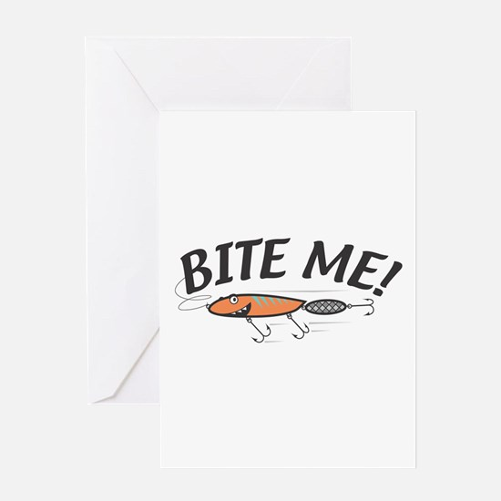 Funny Bite Me Fishing Lure Greeting Card