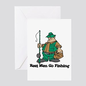 Reel Men Go Fishing Greeting Card