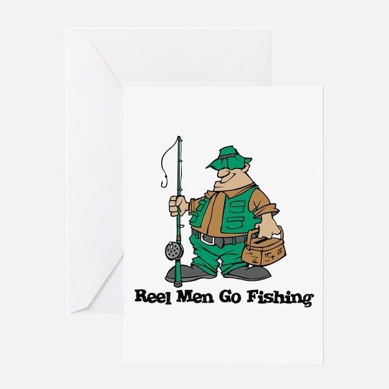 Reel Men Go Fishing Greeting Card