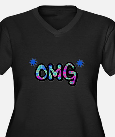 OMG (Oh My God) Women's Plus Size V-Neck Dark T-Sh
