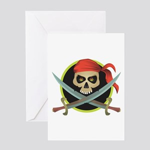 Pirate Skull and Swords Greeting Card