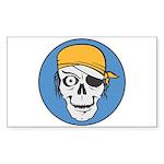 Colored Pirate Skull Sticker (Rectangle 50 pk)