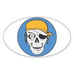 Colored Pirate Skull Sticker (Oval 10 pk)