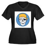Colored Pirate Skull Women's Plus Size V-Neck Dark